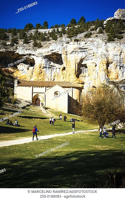 Hermitage of San Bartolome. Lobos river canyon, Nature Park. Ucero, Soria, Castilla y Leon. Spain, Europe