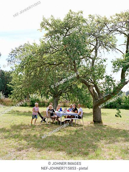 Multi-generation family having dinner in the garden, Sweden