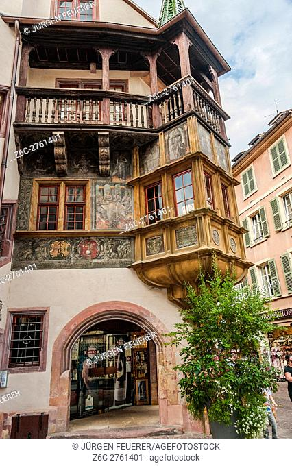 The Pfister House in Colmar, architecture of Renaissance, scenic picturesque town of the Alsace, France