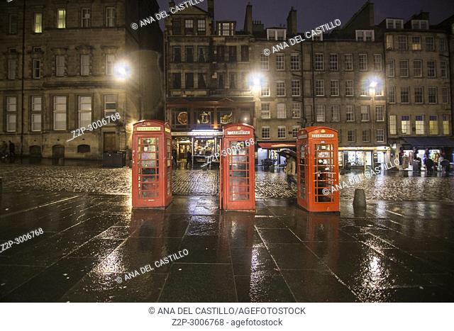 Royal Mile by twilight Edimburgh old town, Scotland, UK.Red telephone booths