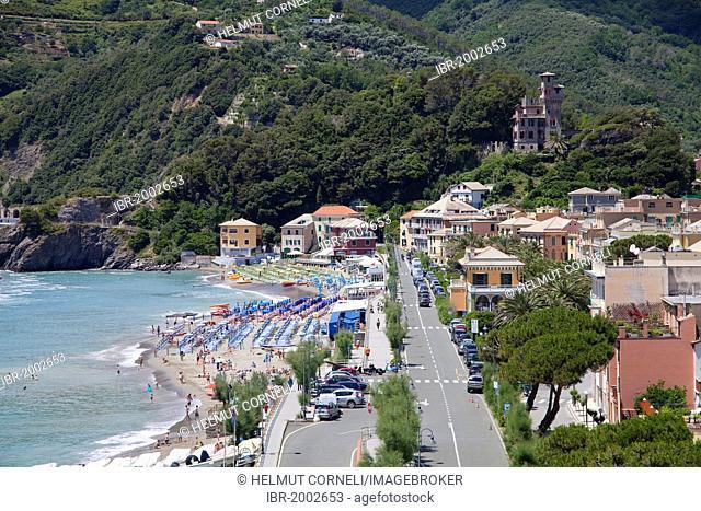 Village overview, Castello Fiori, Moneglia, Genoa Province, Liguria, Italian Riviera or Riviera di Levante, Italy, Europe