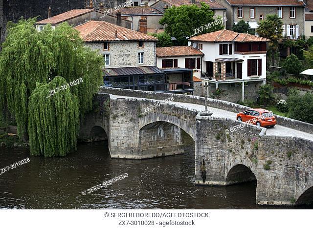 Clisson village with the bridge in the Sevre Nantaise river, Nantes, Loire Atlantique, France