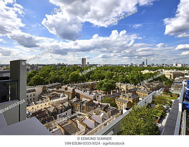 Elevated view from penthouse towards Buckingham Palace. Nova Building interiors, London, United Kingdom. Architect: na , 2017