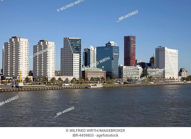 Skyline with skyscrapers at Boompjeskai, Nieuwe Maas River, Rotterdam, Holland, Netherlands