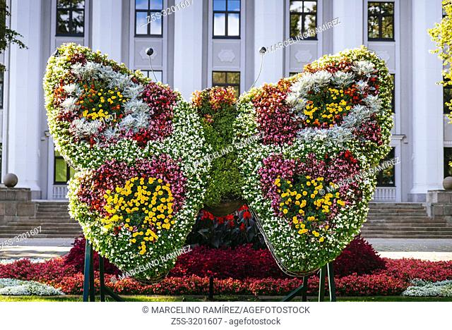 Vertical garden. Butterfly of flowers in front of the University building. Liepaja, Kurzeme Region, Latvia, Baltic states, Europe