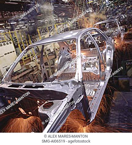 Malaysia, Kuala Lumpur, Proton auto factory, Proton cars on automated assembly line