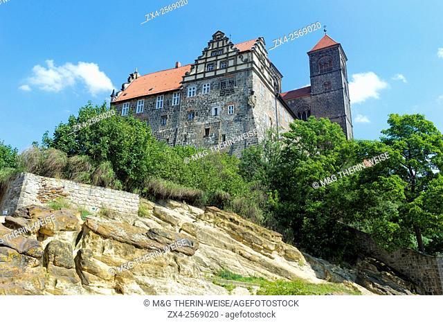 Castle and Church St. Servatius on Schlossberg hill, Quedlinburg, Harz, Saxony-Anhalt, Germany, Unesco World Heritage Site