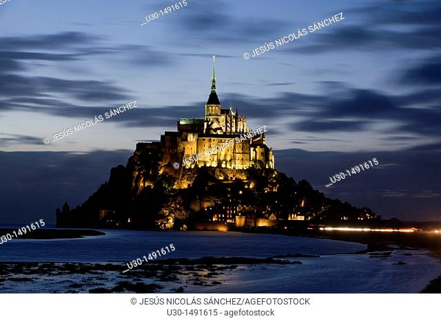 Night view of Mont-Saint Michel abbey, listed as World Heritage by UNESCO, Manche department, Lower Normandie region, France