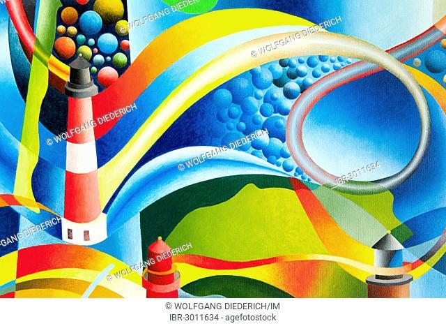 Lighthouse on Amrum Island, acrylic painting, artist Gerhard Kraus, Kriftel