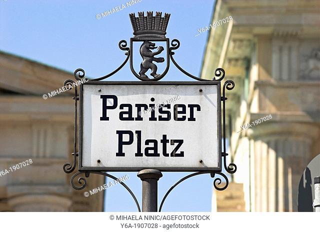 Cast iron signpost Pariser Platz, Berlin Germany