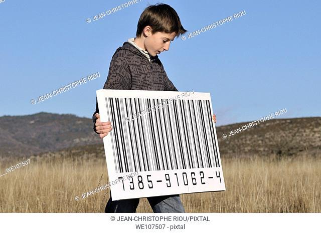Boy with a big bar code