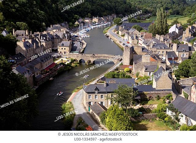 Overview of the old town of Dinan, in Cotes d'Armor department, Brittany  France