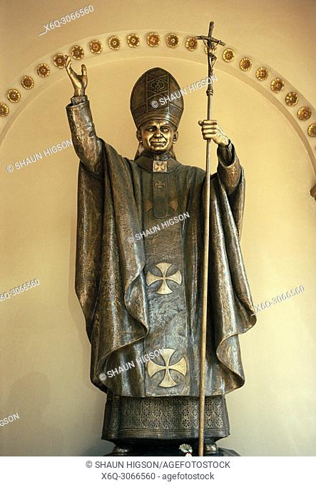 Pope John Paul II at the Roman catholic Assumption Cathedral in Bang Rak in Bangkok in Thailand in Southeast Asia Far East