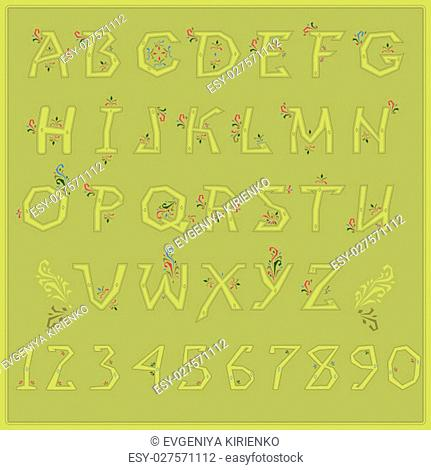 Country Floral font. Folk artistic alphabet. Yellow letters with red and green floral decor. Vector Illustration. EPS 8
