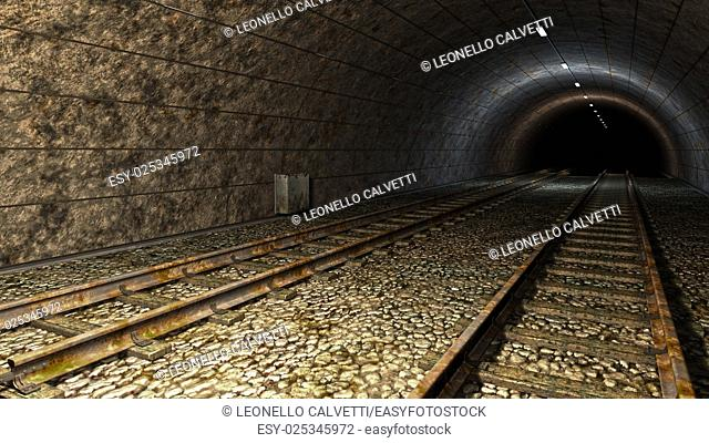 Old train tunnel with two tracks with rust