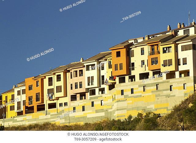 Tipical facades houses in San Vicente de la Sonsierra. La Rioja. Spain