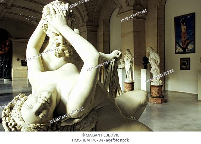 France, Nord, Lille, marble sculpture by James Pradier depicting Satyr and Bacchante Palais des Beaux Arts