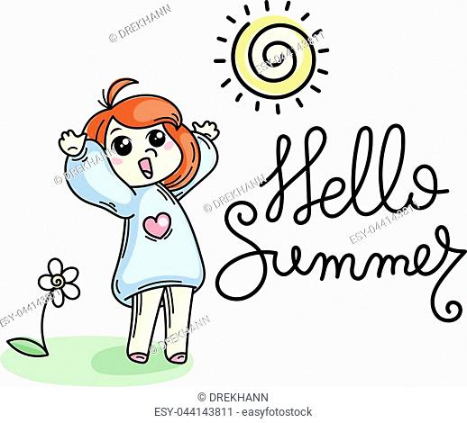 Hello summer. Cute cartoon kids. Vector and illustration