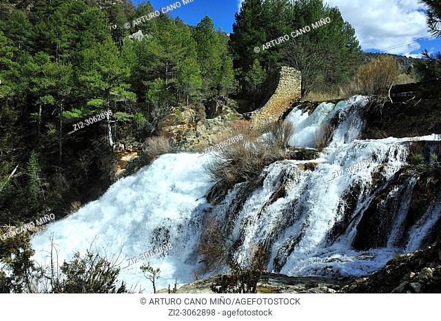 The Salto (waterfall) of Poveda at the river Tagus. Alto Tajo Natural Park. Guadalajara province, Spain