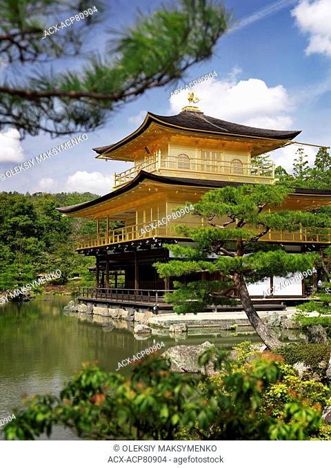 Golden Pavilion, Kinkaku-ji temple. Zen Buddhist temple in Kyoto, Japan. Springtime scenery