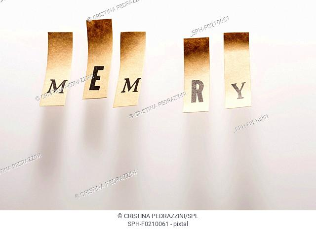 Paper with the word memory, O is missing
