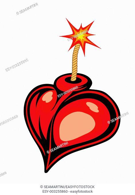 Cartoon heart bomb isolated on white background