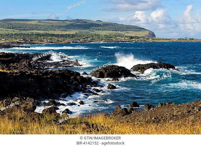 Waves crashing on the rocks, Hanga Roa, Rapa Nui National Park, Easter Island, Chile