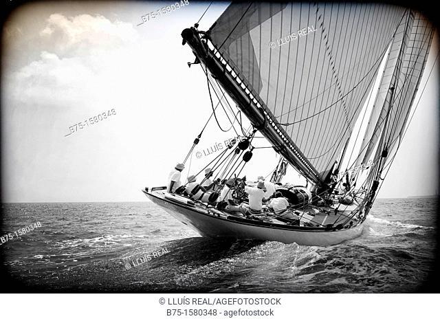 Boat race, Sailing, Sailing boats, vintage boats, Menorca, Balearic Islands, Spain, Mediterranean