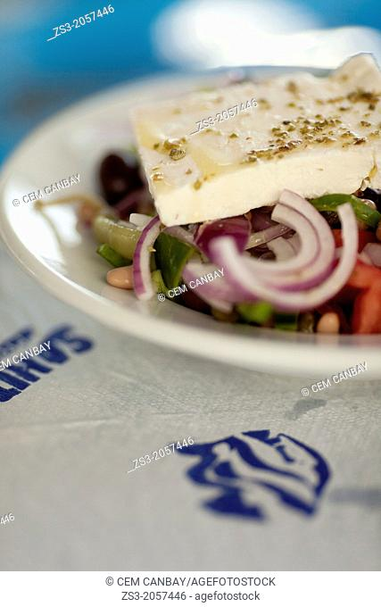 Greek Salad wiating to consume on the table, Koufonissi, Cyclades Islands, Greek Islands, Greece, Europe