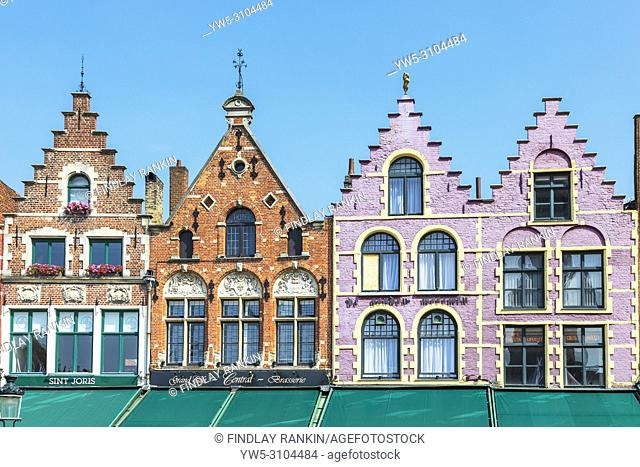 Traditional styled Flemish buildings overlooking Place de Bruges, Bruges, Belgium