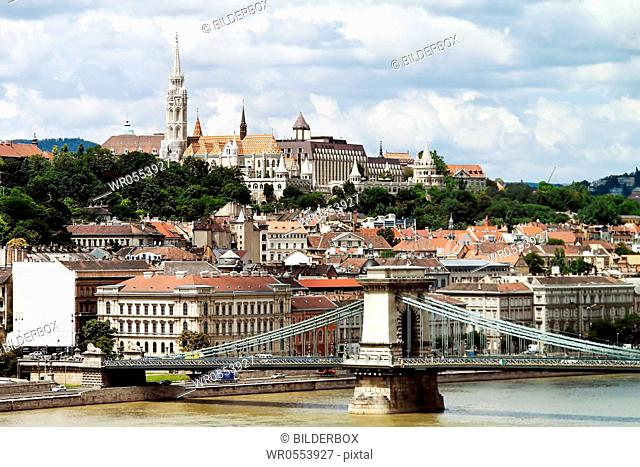 Europe, Hungary, Budapest, Castle Hill and Castle.City View