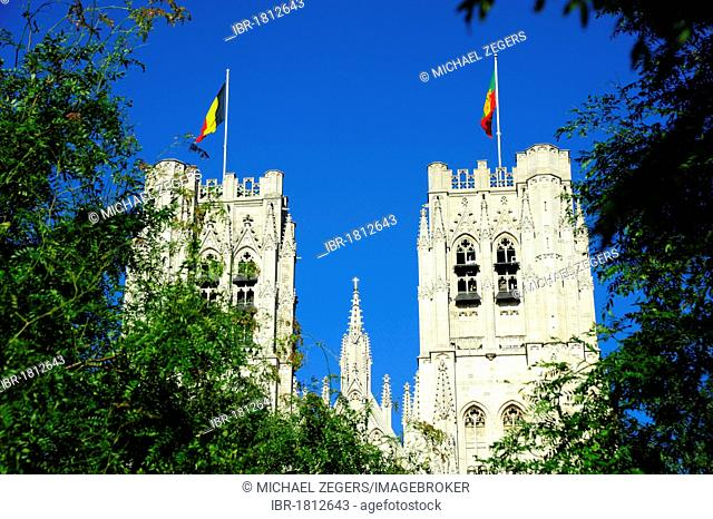 Cathedral, Gothic style, Cathedrale St-Michel, St. Michiels-Kathedraal, Place St. Gudule, city centre, Brussels, Belgium, Benelux, Europe