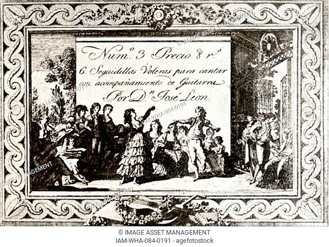 Printed cover of a Spanish musical. Dated 19th Century