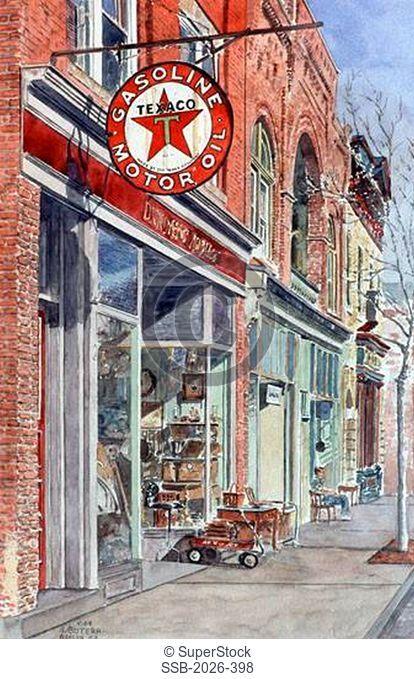 Texaco Sign, Antique Store, Beacon, NY 2004 Anthony Butera b.20th C. Watercolor