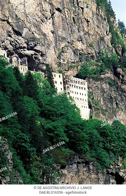 View of the Sumela Monastery, known as complex of Virgin Mary of the Black Mountain, founded in the 4th century, Sumela, Trabzon, Black Sea region, Turkey