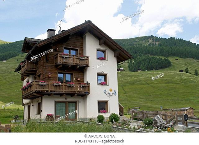 traditional mountain house in Livigno, Lombardy, Italy