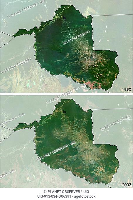 Satellite view of deforestation in Rondonia, Brazil in 1990 and 2003. This before and after image shows deforestation impact over the years