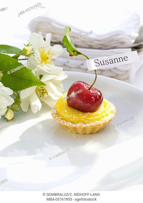 Lemon cherry tarte with nameplate