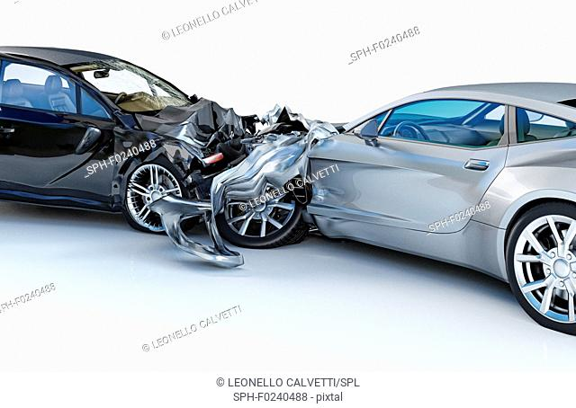 Two cars accident. Crashed cars. One silver sport car against one black sedan. Big damage. Isolated on white background. Close up view
