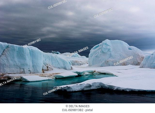 Iceberg formations, Vibebukta, Austfonna, Nordaustlandet, Svalbard, Norway