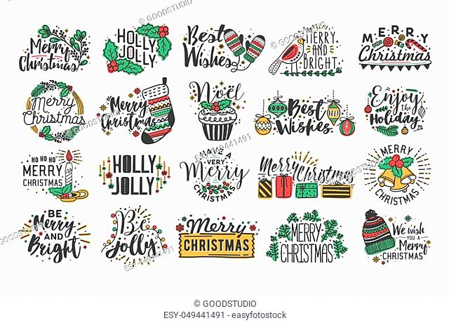 Collection of Christmas handwritten lettering with hand drawn holiday decorations - holly leaves, light garland, candles, knitted socks, bells and gifts