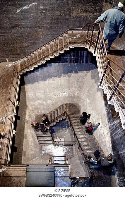 visitors in a straircase of coking plant Zollverein, Germany, North Rhine-Westphalia, Ruhr Area, Essen
