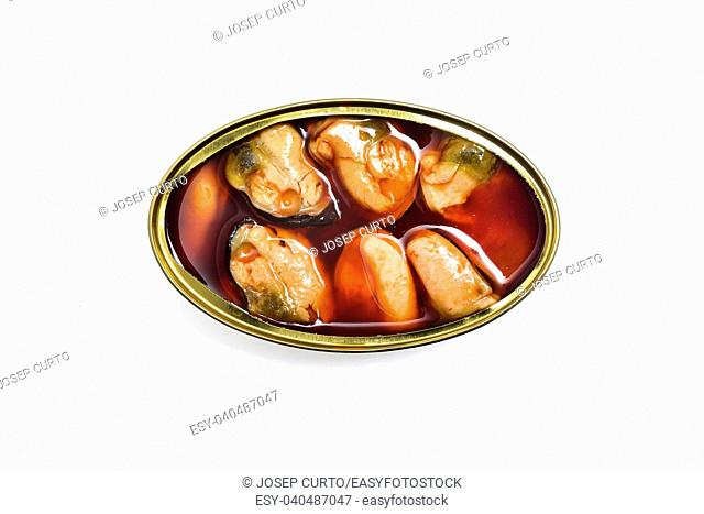can of mussels isolated