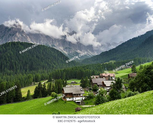 Traditional farms in the mountain hamlets called Viles near Mischi and Seres, Campill, Val Badia, Dolomites. Europe, Central Europe, Italy, Alto Adige