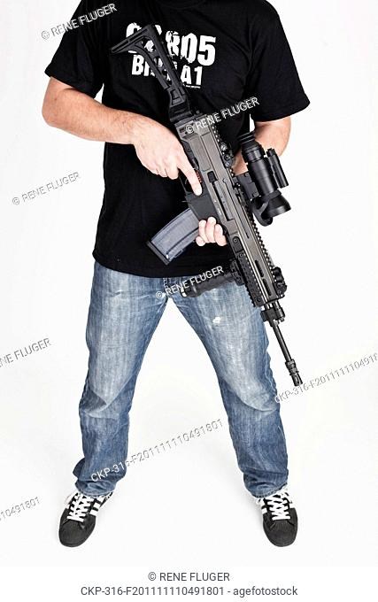 New assault rifle, automatic weapon, type CZ 805 BREN A1 equipped with Laser pointer DBAL-A2 and night vision riflescope NV-Mag3