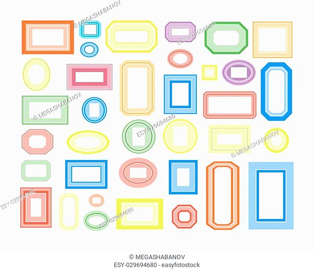 Set of colored frames. Vector