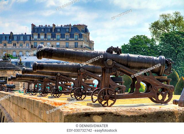 Beautiful view of the cannons at Invalides in Paris, France