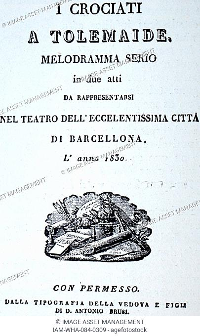 A Tolemaide, with music written by Giovanni Pacini (1796-1867) an Italian composer. Dated 19th Century