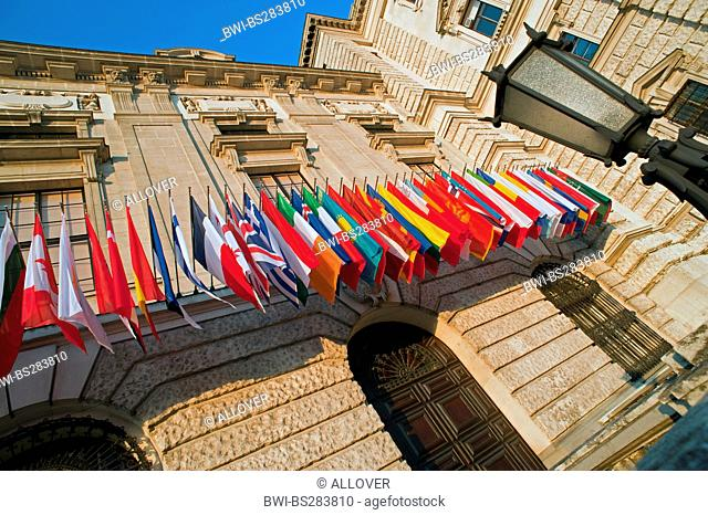 flags at conference centre Hofburg, Austria, Vienna