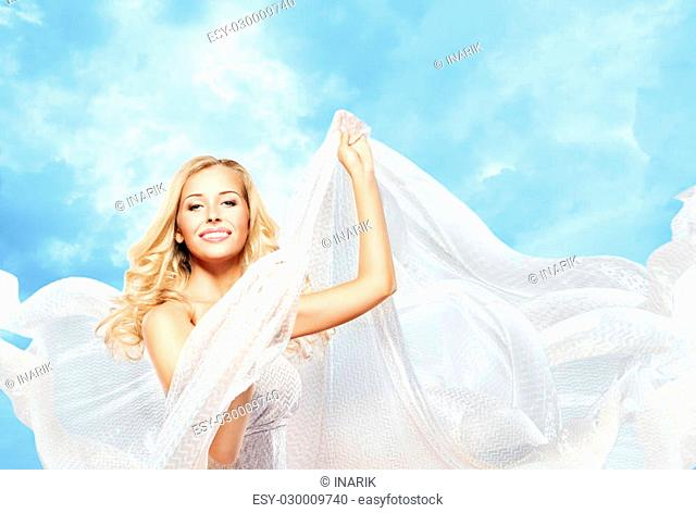 Woman and Flying Silk Fabric, Fashion Model Girl Dancing with White Waving Cloth